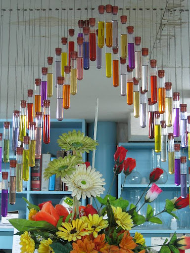 ceiling decoration made of test tubes filled with colored water