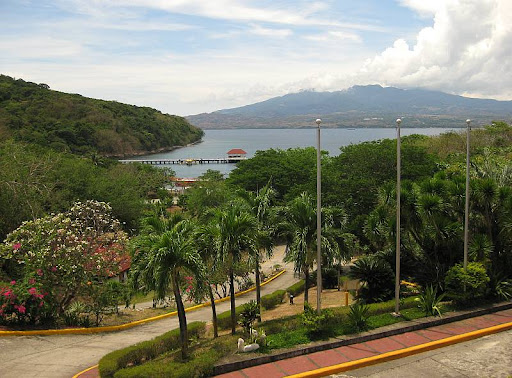 view of the North Dock, North Channel and the hills of the Bataan Peninsula from the entrance of Corregidor Inn