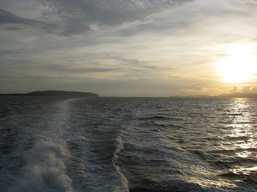 Corregidor Island from the back of the ferry during sunset