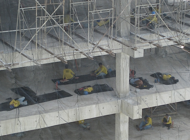 construction workers taking a siesta