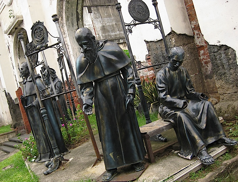statues of the first five Catholic religious orders in the Philippines located in Intramuros