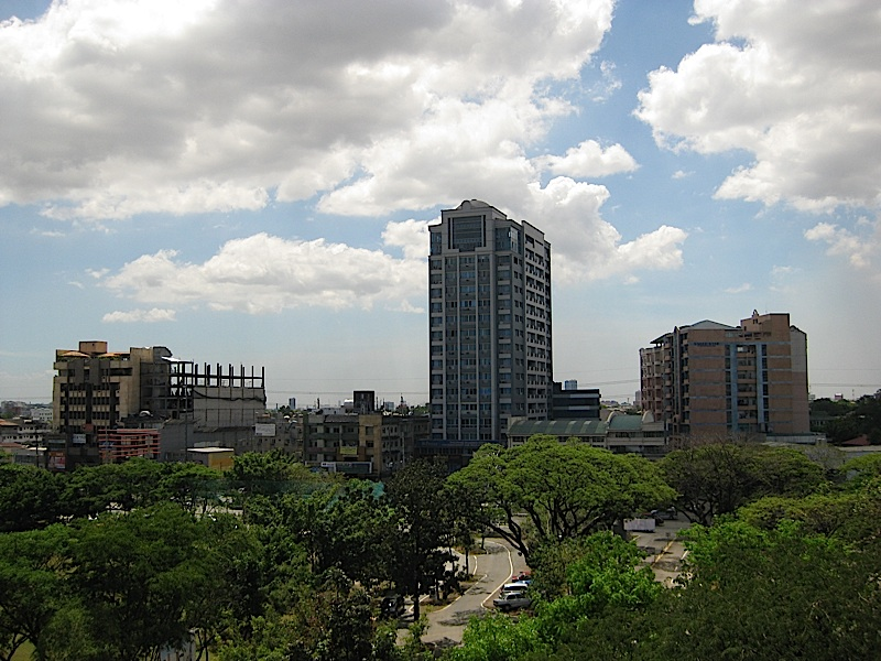 the buildings of Katipunan Avenue as seen from the roofdeck of Ateneo's Leong Hall