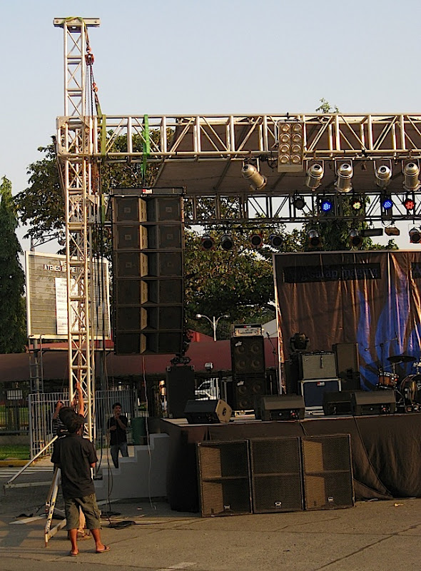 men setting up a stage