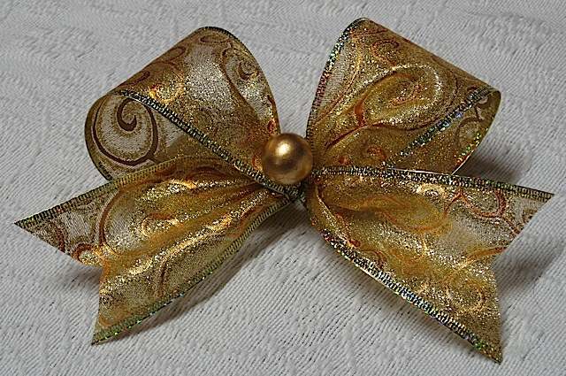 gold ribbon Christmas ornament