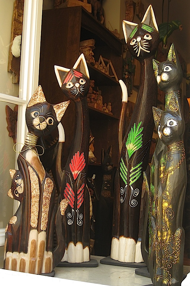 wooden cats at a shop window at Quartier Petit Champlain, Quebec City