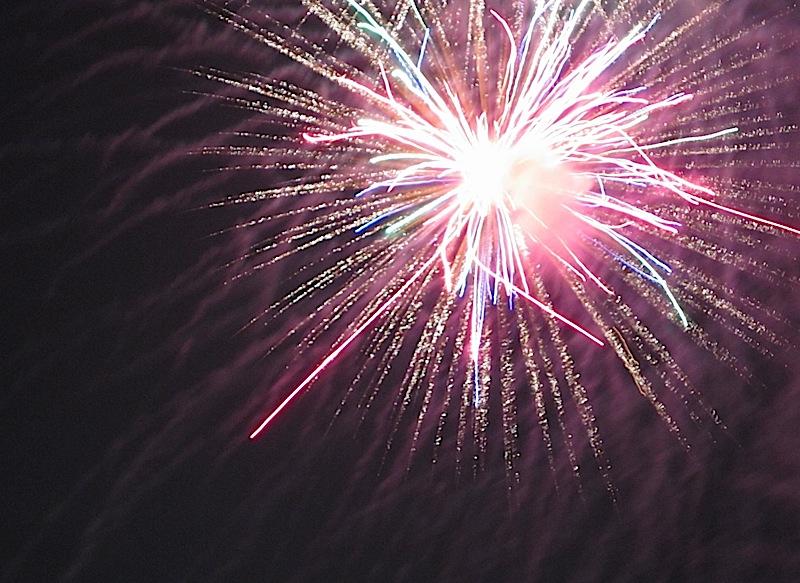 fireworks at the 'Three for History' Ateneo de Manila University bonfire