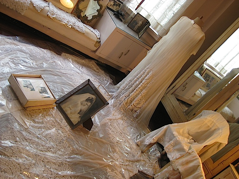 wedding gown on display in one of the bedrooms of the ancestral home of the Legarda clan