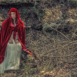 Red Riding Hood by Paul Sparrow - People Fine Art ( natural light, red riding hood, bribie island, rainforest )