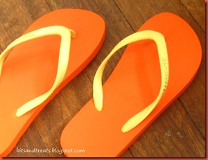 orange and yellow penshoppe flip flops, by bitsandtreats