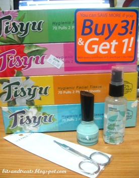 boxed tissues, TFS nail polish, TFS nose hair scissors, ellana brush cleaner, by bitsandtreats