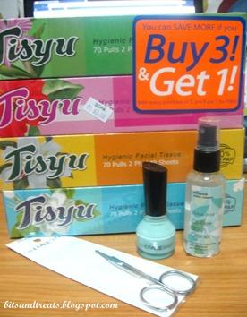 boxed tissues, TFS nail polish, TFS nose hair scissors, ellana brush cleaner, by bitsandtreats