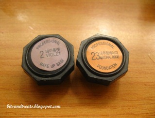 tfs violet makeup base and natural beige foundation caps, by bitsandtreats