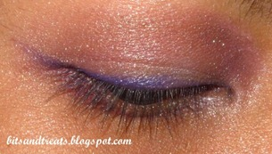 sparkly notd with nichido purple eye liner, by bitsandtreats