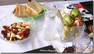 breakfast - apples and grapes, bread with cheese, by 240baon