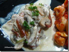 fried chicken breast fillet with mock stroganoff sauce, by 240baon