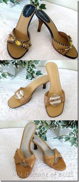 Camel heeled sandals collage