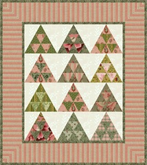 pyramid mini quilt pink and green
