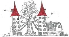 二つの赤い塔と大きな木