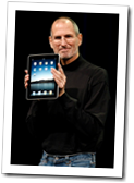 Steve Jobs showing the iPad.