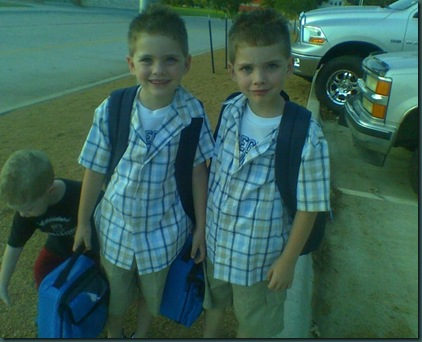 Twins' first day of school
