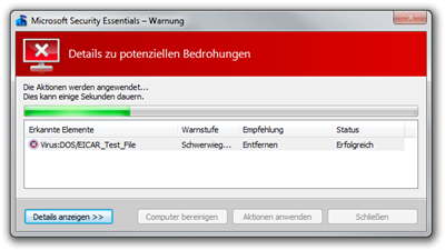 Microsoft Security Essentials – Warnung