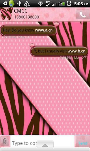GO SMS THEME BrnPinkZebra2