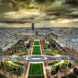 God's eye view ! by Amol Bhatti - City,  Street & Park  Skylines ( paris, eiffel tower, skyline, hdr, cityscape, top, city )