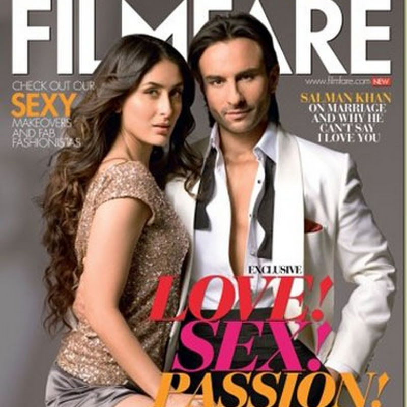 Kareena and Saif in hot pose on the cover of Filmfare