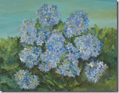 heronkate Blue Hydrangeas Original Painting