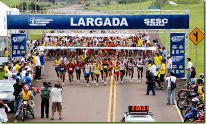 1ª Maratona Internacional das Aguas - Início  no mirante central da Itaipu Binacional e final/chegada nas Cataratas - Dia 12-10-2007