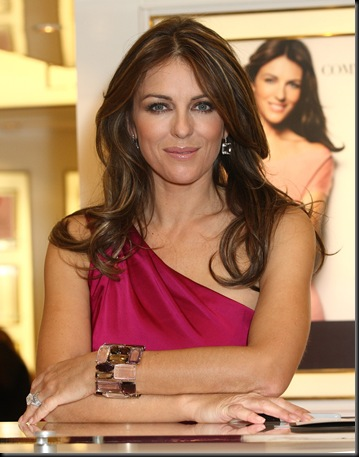 Elizabeth Hurley in Cobblestones at Harrods