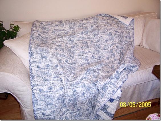 back of blue irish chain quilt