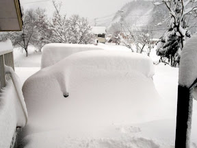 雪にすっぽり