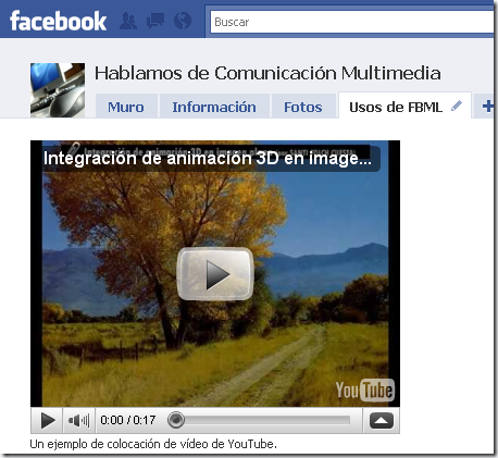 Aspecto de un vídeo de YouTube en una pestaña FBML de Facebook