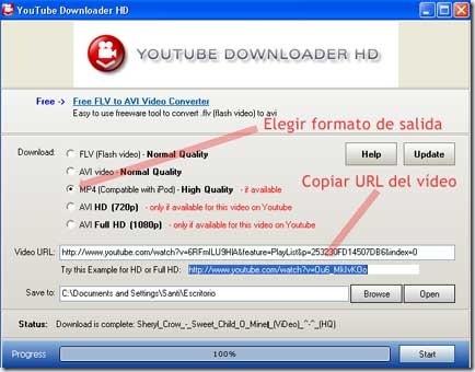 Menú del programa YouTube Downloader HD