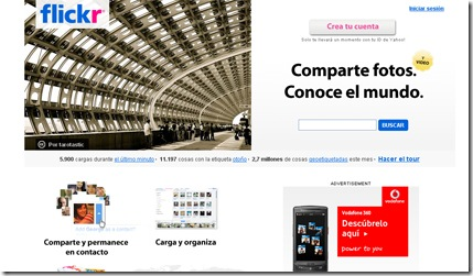 Aspecto de la web de flickr