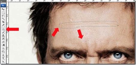 Usando herramienta parche de Photoshop para quitar arrugas