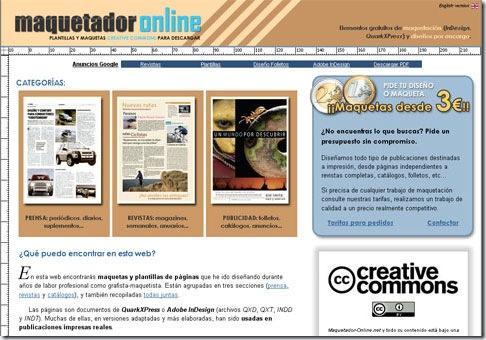 Página principal de Maquetador-online, plantillas y maquetas Creative Commons para descargar.