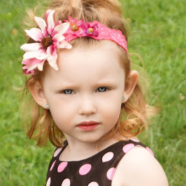 Take Another Picture!  I Dare YOU! by Cheryl Korotky - Babies & Children Child Portraits ( child, summer dresses, model, red hair, enchanted imagination, a heartbeat in time photography, mean expressions on children, blue eyes, nevaeh, beautiful faces, pretty woman dresses, children wearing headbands,  )
