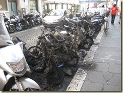 torched motorbikes