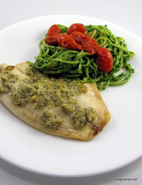 Baked white fish with pine nut parmesan and basil pesto for Baked white fish