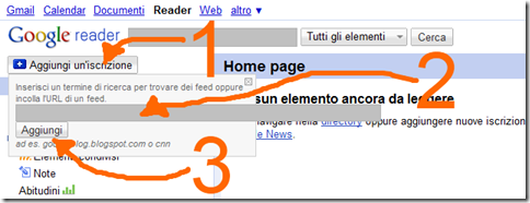 netlog accedere diari notifiche tramite google reader via RSS feed