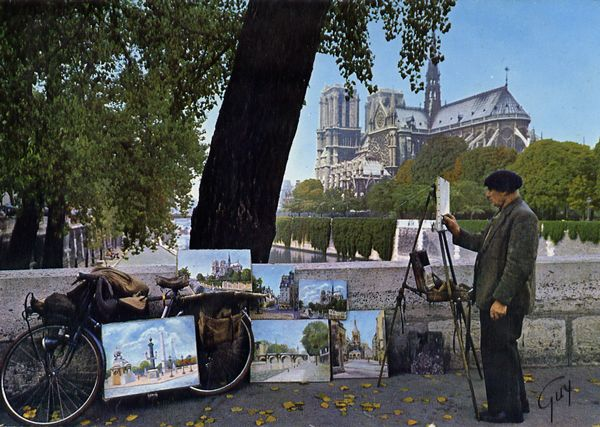 Cartes Postales Pop et  Kitsch des années 50, 70 et 70 - Pop and kitsch vintage postcards from the fifties, the sixties and the seventies : Quais et peintres de Paris