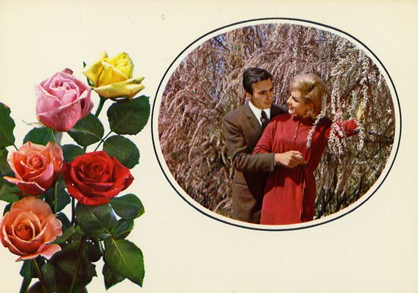 Cartes Postales Pop et  Kitsch des années 50, 70 et 70 - Pop and kitsch vintage postcards from the fifties, the sixties and the seventies : Amours en fleurs