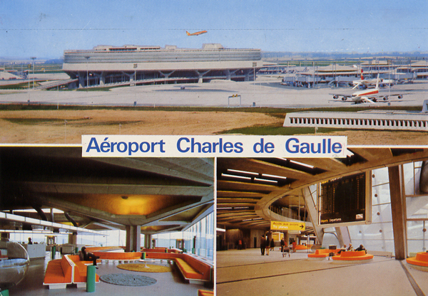 Cartes Postales Pop et  Kitsch des années 50, 70 et 70 - Pop and kitsch vintage postcards from the fifties, the sixties and the seventies : ROISSY-EN-FRANCE Aéroport Charles-de-Gaulle