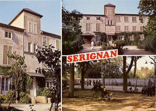 Cartes Postales Pop et  Kitsch des années 50, 70 et 70 - Pop and kitsch vintage postcards from the fifties, the sixties and the seventies : SERIGNAN (34) La Cigalière, la promenade du pont, le boulodrome Col. Mr Valette Tabac Presse