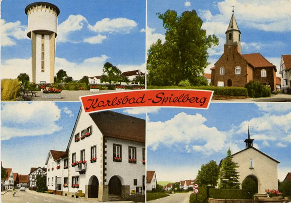 Cartes Postales Pop et  Kitsch des années 50, 70 et 70 - Pop and kitsch vintage postcards from the fifties, the sixties and the seventies : KARLSBAD-SPIELBERG