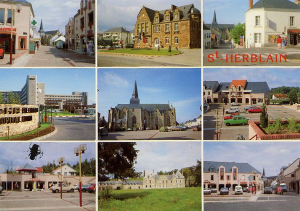 Cartes Postales Pop et  Kitsch des années 50, 70 et 70 - Pop and kitsch vintage postcards from the fifties, the sixties and the seventies : SAINT-HERBLAIN (Loire-Atlantique)en haut : Rue du Lieutenant Mouillié, L'Hôtel de Ville, Angle rue Pierre Blard et rue Pierre Gicquiau au centre : C.H.R. de Nantes, Hôpital Nord, L'église, Place de la Paix en bas : Le chateau de la Gournerie et le Centre Commercial des Arcades