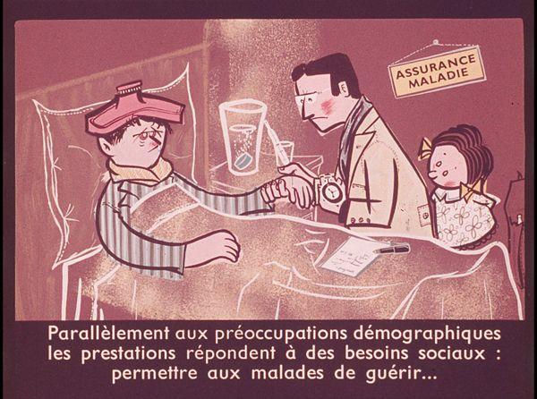 Films fixes et publicités de quartier (educational filmstrips) sur www.filmfix.fr : Notions élémentaires sur la sécurité sociale