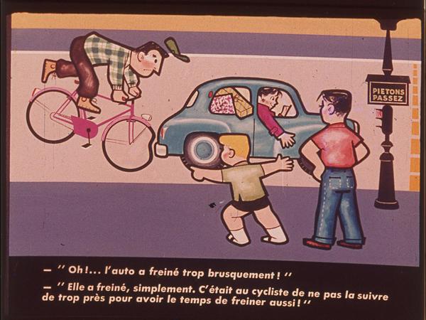 Films fixes et publicités de quartier (educational filmstrips) sur www.filmfix.fr : Jouez gagnant ...  La sécurité à bicyclette